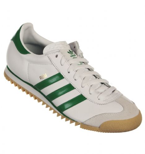 promo code 60b55 a3683 Adidas Originals Rom Mens Limited Edition White Green Retro Leather Gum  Sole Trainers